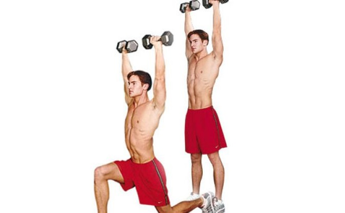 dumbell overhead lunge